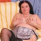 Horny slutty granny in black stockings