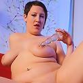 Big freshie yummies down on a long glass cock