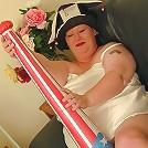 Naked Huge Momma with Toy Baseball Bat Posing
