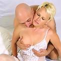 Horny blond mature slut riding bigboned cock