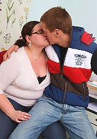 Jiggly fat teacher takes a dick