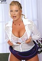Brunette gets banged hard on a table breast shagging skulling twat drilling.